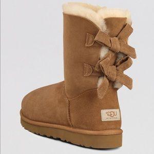 UGG Bailey Bow Corduroy Genuine Lamb Fur Boot